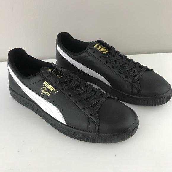 reputable site 51711 8dde8 Puma NEW mens Clyde Core foil black gold sneaker NWT